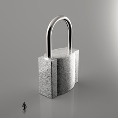 businessman walking to 3d metal padlock as security concept