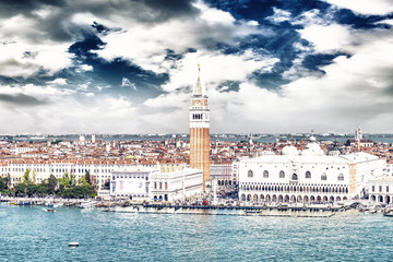 Venice landmark, aerial view of Piazza San Marco or st Mark squa