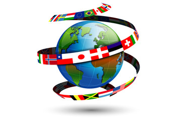 spirale di bandiere del mondo