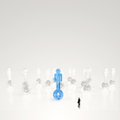 businessman looking at 3d medical network icon as concept