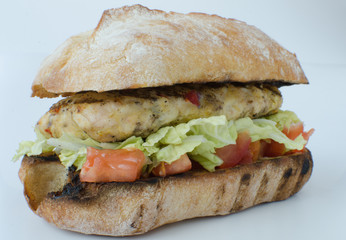 Italian chicken burger isolated