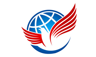 world and bird logo