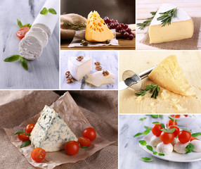 Collage of delicious cheeses