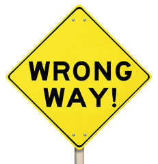 Wrong Way Yellow Warning Road Sign Caution Danger