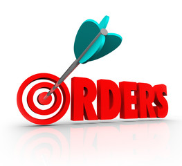 Orders 3D Word Arrow Target Purchasing Merchandise Store Sales