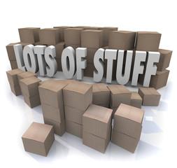 Lots of Stuff Cardboard Boxes Messy Disorganized Storage Stockpi