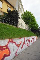 Grafitti an Gehsteig in Zagreb