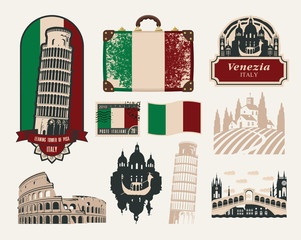 set of design elements on trips to Italy