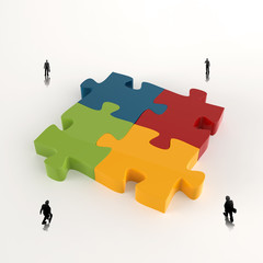Partnership Puzzle metal 3d and businessman icons as concept