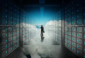 engineer business man in 3d network server room and cloud inside