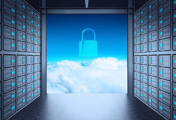 3d network server room and cloud outside as concept