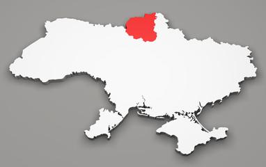 Mappa Ucraina, divisione regioni, chernihiv