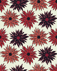 Seamless vector floral pattern with chrysanthemum