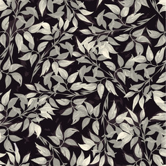 Seamless floral pattern with of gray ficus leaves