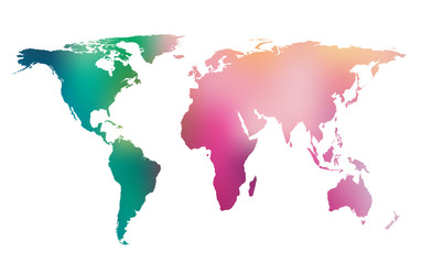 Colorful gradient world map.  Vector background.