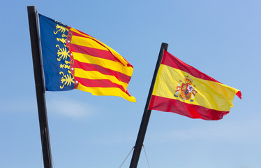 Valencian Community and Spanish Flags