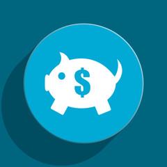 piggy bank blue flat web icon
