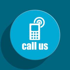 call us blue flat web icon