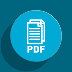 pdf blue flat web icon,