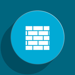 firewall blue flat web icon