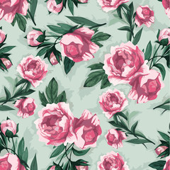 Seamless floral pattern with of pink roses, watercolor.