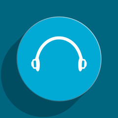 headphones blue flat web icon