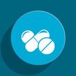 medicine blue flat web icon