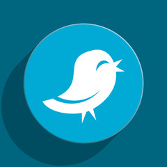 twitter blue flat web icon