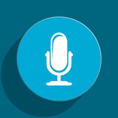 microphone blue flat web icon