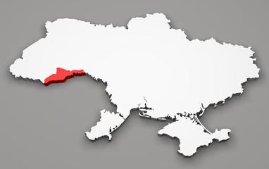 Mappa Ucraina, divisione regioni, chernivtsi