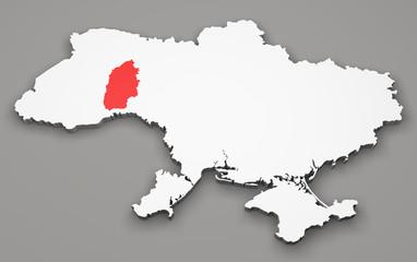 Mappa Ucraina, divisione regioni, khmelnytskyi