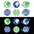 Globe earth vector icons in color