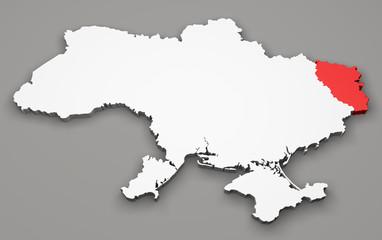Mappa Ucraina, divisione regioni, luhansk