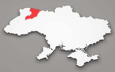 Mappa Ucraina, divisione regioni, rivne