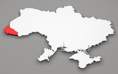 Mappa Ucraina, divisione regioni, zakarpattia