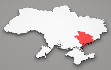 Mappa Ucraina, divisione regioni, zaporizhia