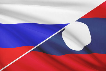 Series of flags. Russia and Lao People's Democratic Republic.