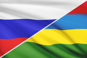 Series of ruffled flags. Russia and Republic of Mauritius.