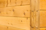 natural wood wall houses from glued beams poster