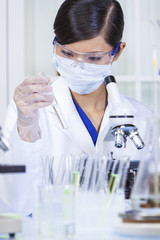 Chinese Female Woman Laboratory Scientist & Microscope