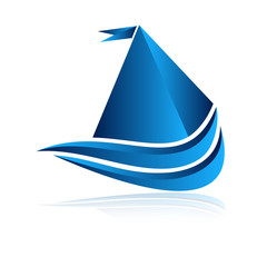 логотип лодка синяя