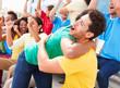 Sports Spectators In Team Colors Celebrating