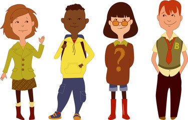 Set of school children characters