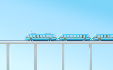 blue futuristic train on the bridge