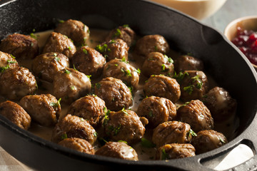 Homemade Swedish Meatballs with Cream Sauce