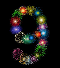 Zahl Feuerwerk - 9