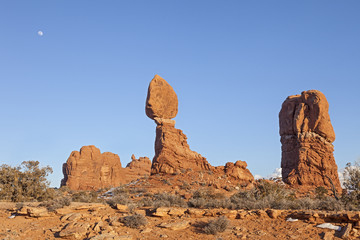Balanced Rock is Feature at Arches National Park, Utah.