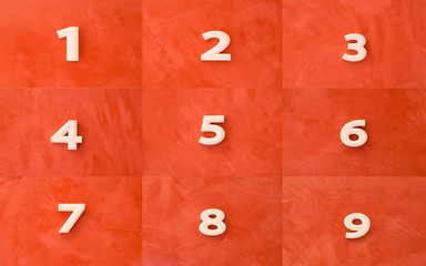 Collection of numbers on red marble background