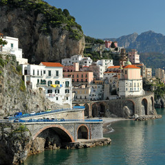 beautiful village Atrani on Amalfi Coast in south Italy