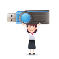business girl with pendrive over isolated white background